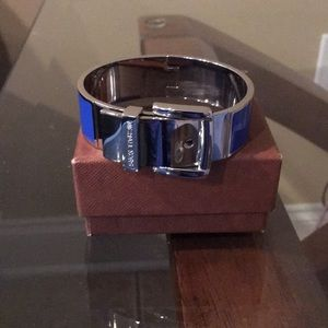 Michael Kors Blue Wide Buckle Hinged Bracelet